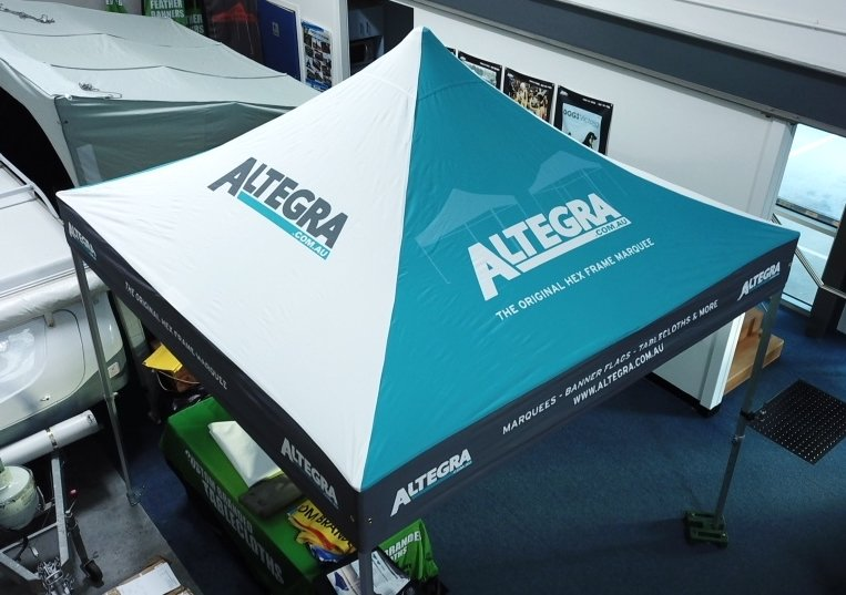 Altegra branded marquee - different colour pitches
