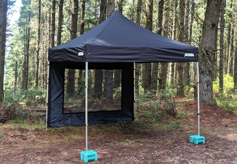 Altegra Black gazebo with window wall - pine forest background