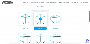 Altegra Marquee Builder screenshot - how to choose the best australian gazebo or marquee for outdoor use.