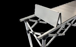 Altegra 3 metre Aluminium Folding Table - brushed aluminium accordion surface.