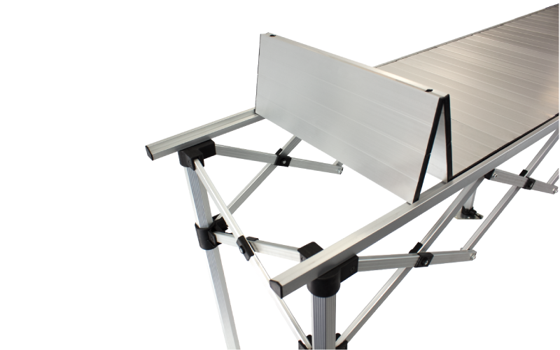 Altegra 3 metre Aluminium Folding Table - brushed aluminium accordion surface.