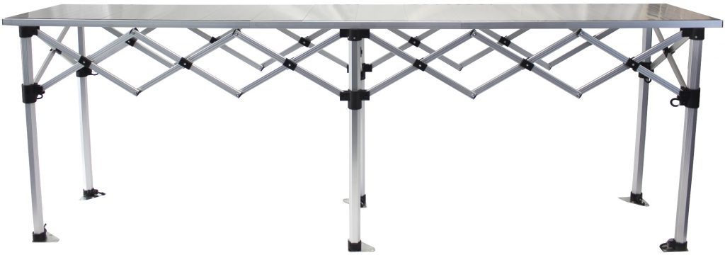 Altegra Heavy duty aluminium 4x4 foldable camping table, side on image. Built to pack some strength into your next outdoor adventure.