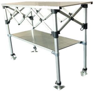 Altegra heavy duty folding aluminium table and shelf - 1.5m x .53m compact packable table image