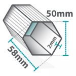 Altegra Heavy Duty gazebo and folding marquee frame cross-section icon - 50mm hexagonal brushed aluminium frame with 2mm walls, measuring 58mm diagonally.