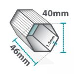 Altegra Pro Lite gazebo and folding marquee frame cross-section icon - 40mm hexagonal brushed aluminium frame with 2mm walls, measuring 46mm diagonally.