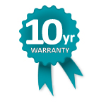 Altegra 10-year heavy duty marquee manufacturer's warranty icon - genuine support from the brand who cares about your investment.