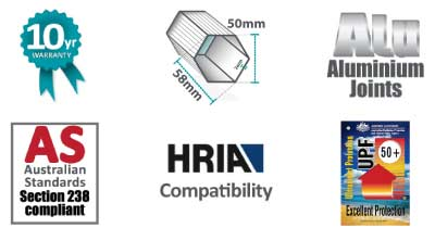 Altegra Heavy Duty frame attributes icon strip - Heavy Duty 50mm aluminium frame, Aluminium joints, Australian Event Standards compliant, and engineered to meet HRIA requirements.