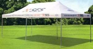 Custom 4X8m marquee by Altegra - State Emergency Service (SES) - Those who Australia relies on, rely on Altegra