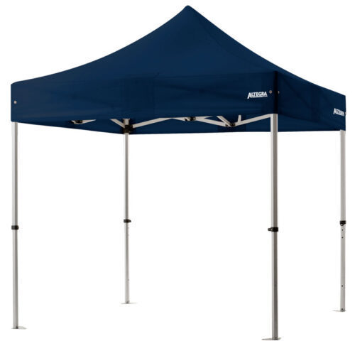Altegra 3x3m lightweight aluminium gazebo with navy blue canopy image - Our Pro Lite 40mm hexagonal aluminium frame is the advanced lightweight Australian gazebo.
