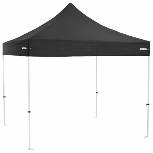 Altegra Premium Steel 3x3m gazebo tent - the affordable 3x3m easy up tent with premium features that protect your family. Black UPF50+ canopy.