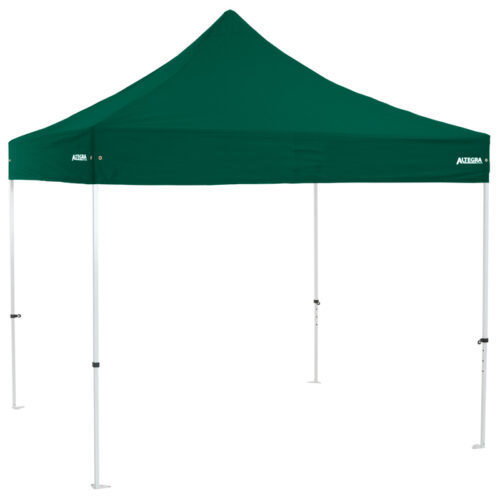 Altegra Premium Steel 3x3m gazebo tent - the affordable 3x3m easy up tent with premium features that protect your family. Green UPF50+ canopy.