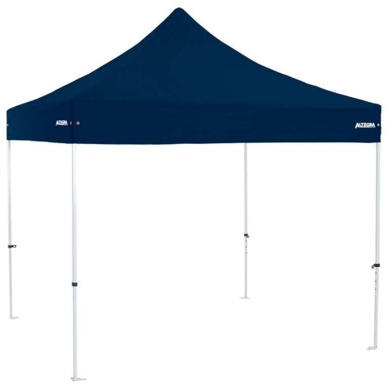 Altegra Premium Steel 3x3m gazebo tent - the affordable 3x3m easy up tent with premium features that protect your family. Navy Blue UPF50+ canopy.