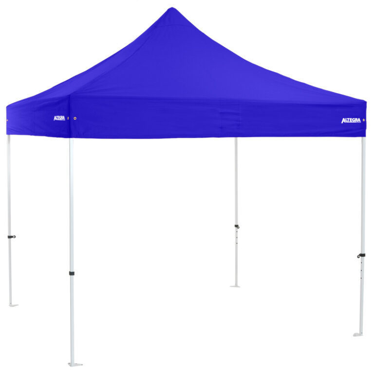 Altegra Premium Steel 3x3m gazebo tent - the affordable 3x3m easy up tent with premium features that protect your family. Royal Blue UPF50+ canopy.