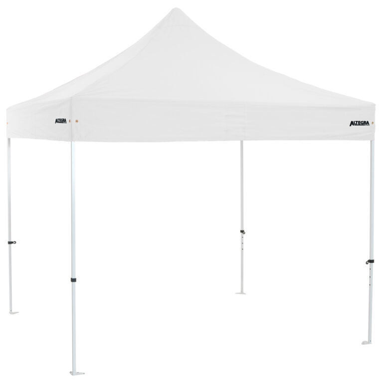 Altegra Premium Steel 3x3m gazebo tent - the affordable 3x3m easy up tent with premium features that protect your family. White UPF50+ canopy.