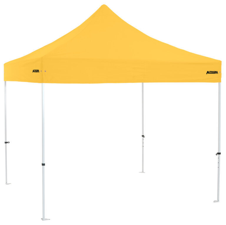 Altegra Premium Steel 3x3m gazebo tent - the affordable 3x3m easy up tent with premium features that protect your family. Yellow UPF50+ canopy.