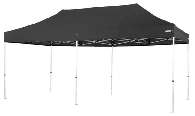 Altegra Pro Lite 3x6m folding marquee with black canopy - the advanced lightweight folding event marquee that has been engineered for full event safety compliance, is manufactured from high-quality aluminium, and is both UPF50+ and 100% waterproof for a secure shelter.