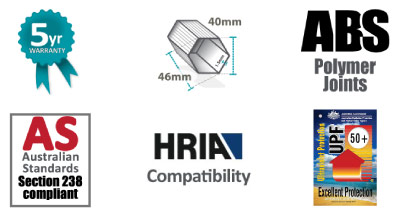 Altegra Pro Lite gazebo frame attributes icon strip - Lightweight 40mm aluminium frame, lightweight Polymer joints, Australian Event Standards compliant (section 238), and engineered to meet HRIA requirements.