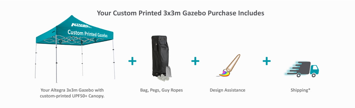 Altegra 3x3m custom printed gazebo purchase inclusion image - We include your Altegra 3x3m gazebo with its custom branded canopy, a wheeled carry bag, guy ropes & pegs, artwork and design assistance, as well as free shipping in your custom 3x3m gazebo purchase.