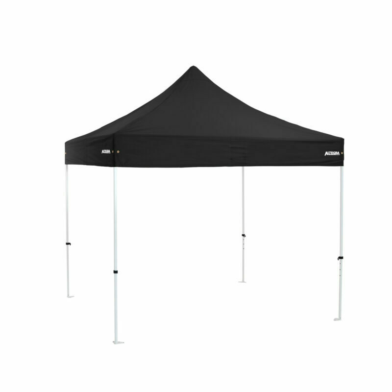 Altegra Premium Steel 3x3m gazebo tent with black UPF50+ canopy - the affordable 3x3m easy up tent with premium features that protect your family.