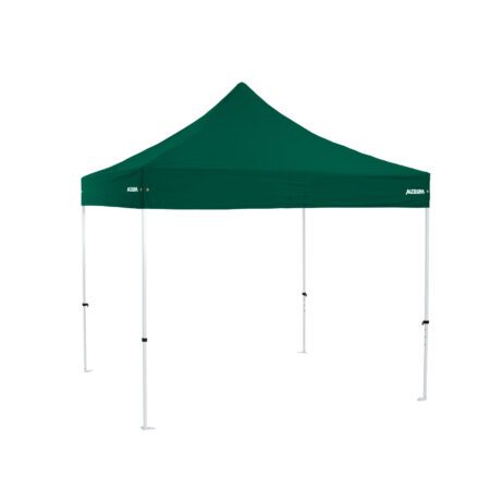 Altegra Premium Steel 3x3m gazebo tent with green UPF50+ canopy - the affordable 3x3m easy up tent with premium features that protect your family.