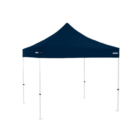 Altegra Premium Steel 3x3m gazebo tent with navy blue UPF50+ canopy - the affordable 3x3m easy up tent with premium features that protect your family.