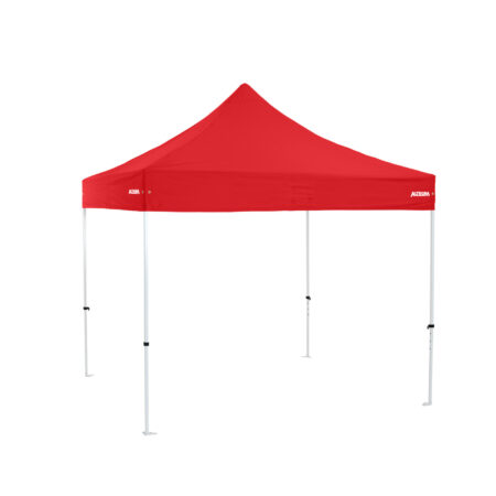Altegra Premium Steel 3x3m gazebo tent with red UPF50+ canopy - the affordable 3x3m easy up tent with premium features that protect your family.
