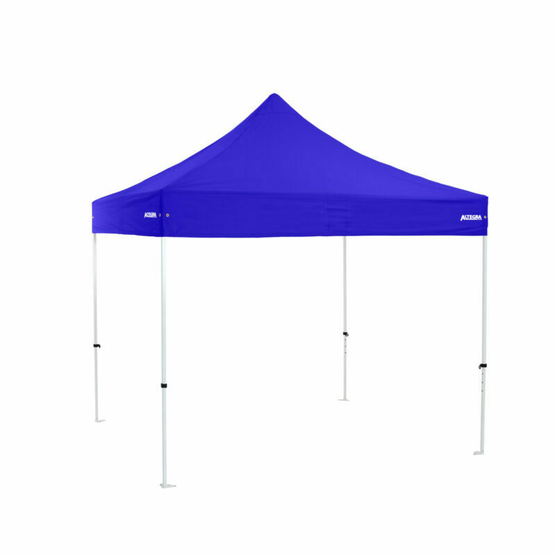 Altegra Premium Steel 3x3m gazebo tent with royal blue UPF50+ canopy - the affordable 3x3m easy up tent with premium features that protect your family.
