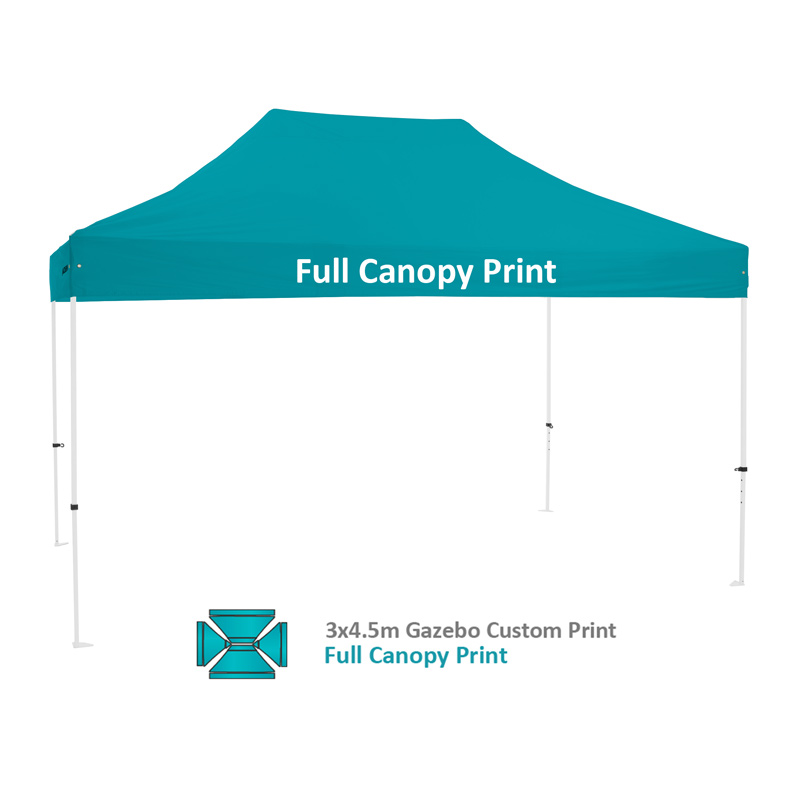Altegra Premium Steel 3x4.5m custom printed gazebo option - full 360 degree custom printed canopy option using high-precision sublimation printing.