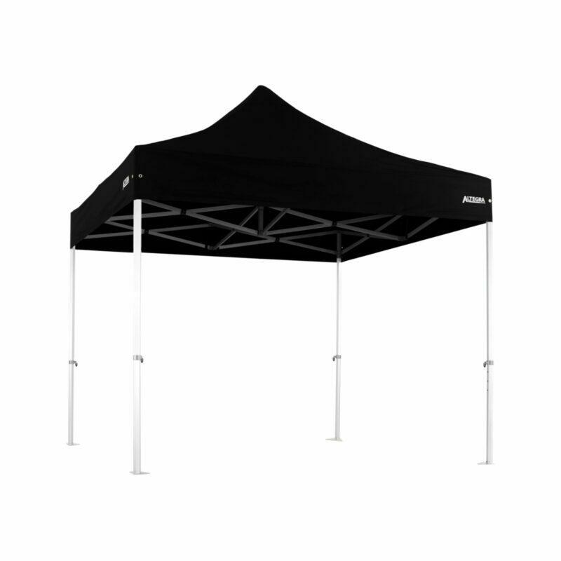 Altegra 3x3m Heavy Duty gazebo with Black UPF50+ canopy - Australia's iconic premium pop up tent for events - 50mm (58mm diag.) hexagonal aluminium legs locked together with aluminium joints.