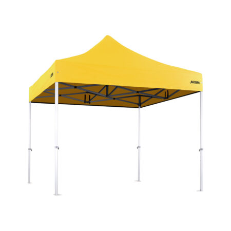 Altegra 3x3m Heavy Duty gazebo with Yellow UPF50+ canopy - Australia's iconic premium pop up tent for events - 50mm (58mm diag.) hexagonal aluminium legs locked together with aluminium joints.