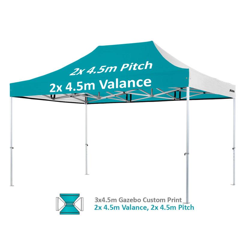 Altegra Heavy Duty 3x4.5m gazebo custom print image - 2x4.5m valance and 2x4.5m pitches printed.