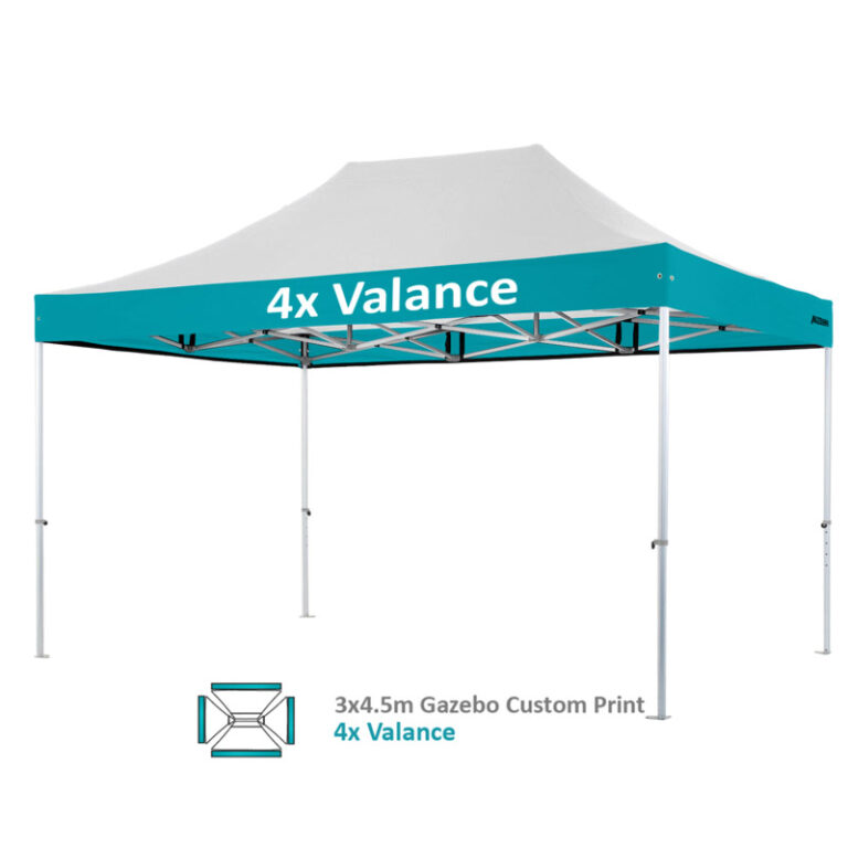 Altegra Heavy Duty 3x4.5m gazebo custom print image - 4x valances printed.