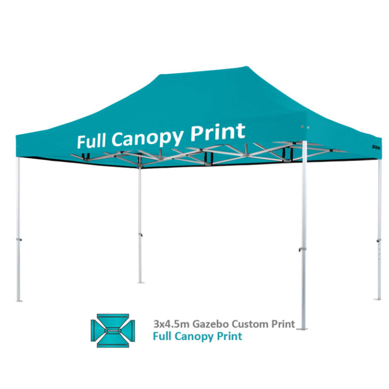 Altegra Heavy Duty 3x4.5m gazebo custom print image - full custom canopy printed. For outstanding custom branded gazebos.