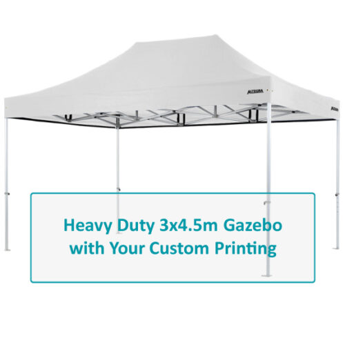 Altegra Heavy Duty 3x4.5m gazebo Custom Printed canopy image - Full custom canopy printing for your brand, club, or team with the dependability of the Altegra Heavy Duty frame.