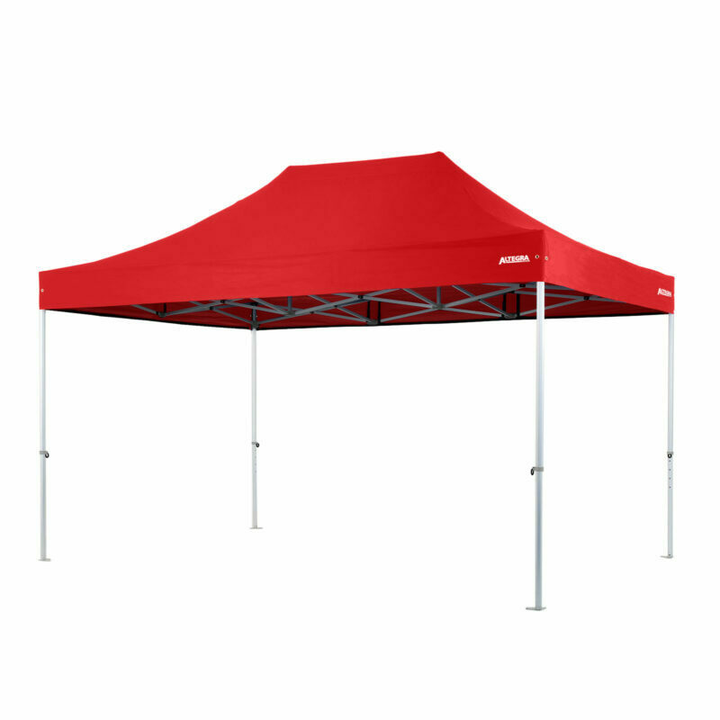 Altegra Heavy Duty 3x4.5m gazebo with red UPF50+ canopy - the dependable portable shade shelter for all Australian conditions.