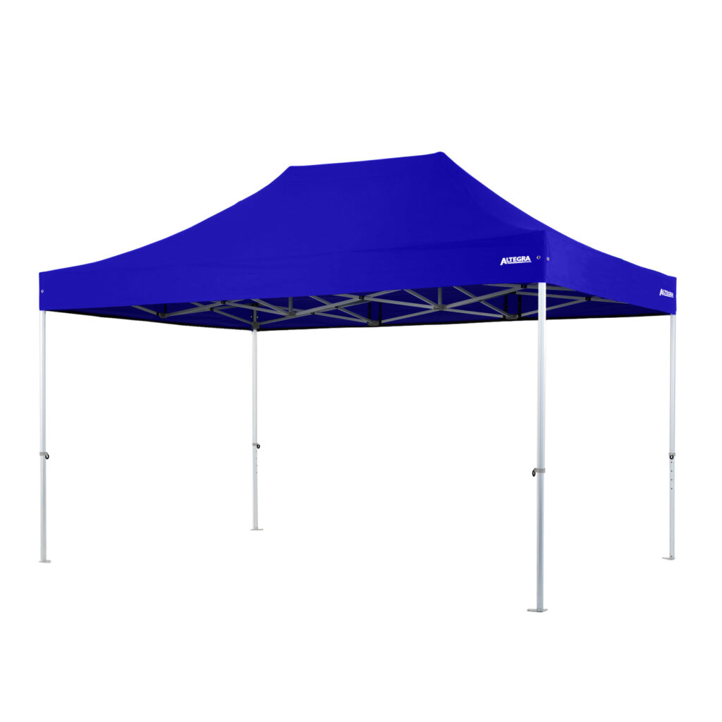 Altegra Heavy Duty 3x4.5m gazebo with royal blue UPF50+ canopy - the dependable portable shade shelter for all Australian conditions.