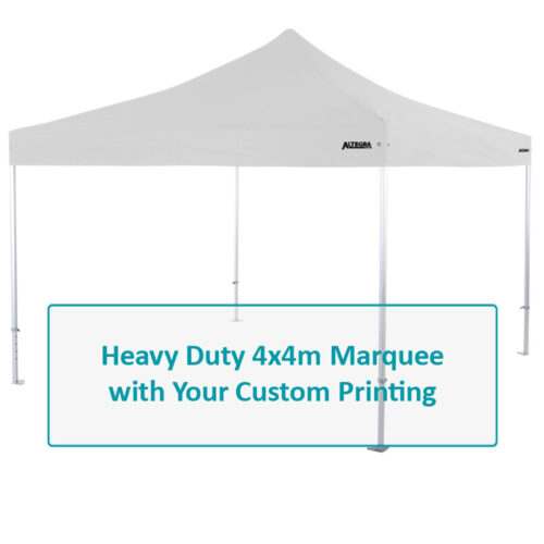 Altegra Heavy Duty custom printed 4x4m marquee - 50mm Heavy Duty frame with custom UPF50+ canopy. Select options image.
