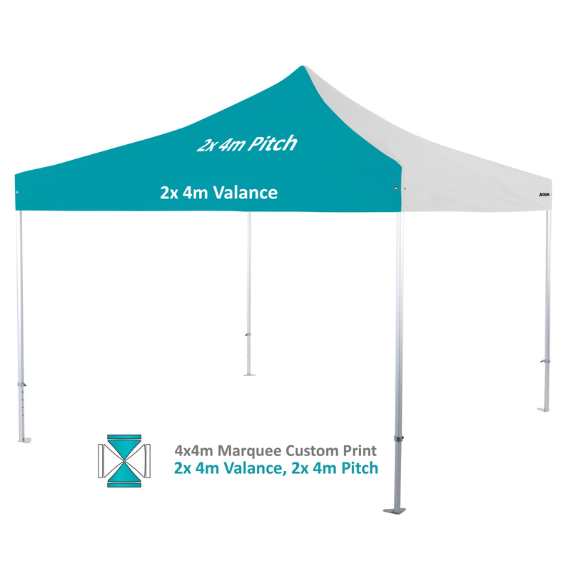 Altegra Heavy Duty custom printed 4x4m marquee - 50mm Heavy Duty frame with custom UPF50+ canopy. 2x4m valance and 2x4m pitch print option image.
