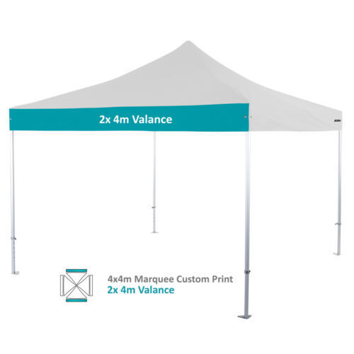 Altegra Heavy Duty custom printed 4x4m marquee - 50mm Heavy Duty frame with custom UPF50+ canopy. 2x4m valance print option image.