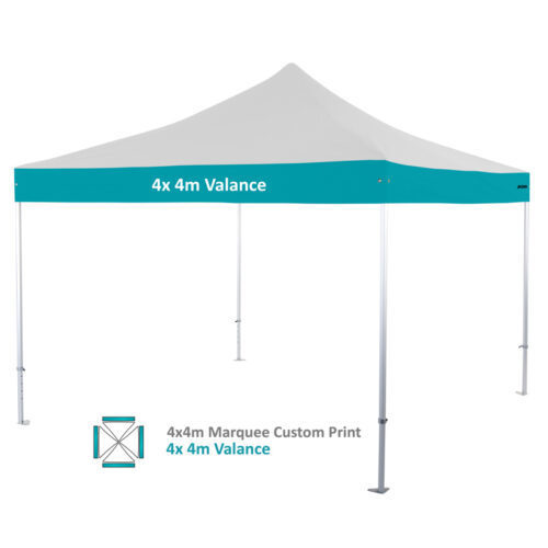 Altegra Heavy Duty custom printed 4x4m marquee - 50mm Heavy Duty frame with custom UPF50+ canopy. 4x4m valance print option image.