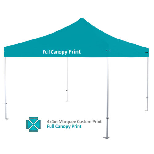 Altegra Heavy Duty custom printed 4x4m marquee - 50mm Heavy Duty frame with custom UPF50+ canopy. Full 4x4m canopy print option image.
