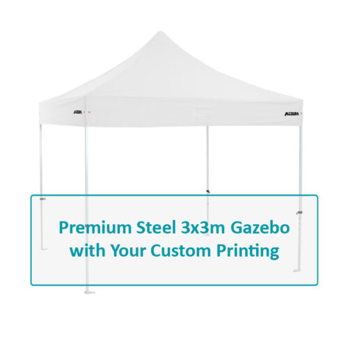Altegra Premium Steel custom printed 3x3m gazebo - affordable steel frame with custom UPF50+ canopy. Select options image.