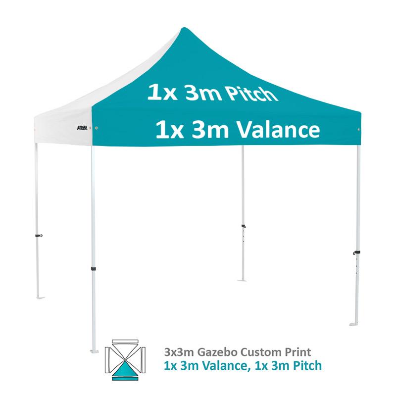 Altegra Premium Steel 3x3m gazebo with vivid custom printed canopy - 1x 3m valance and 1x 3m pitch printed option.