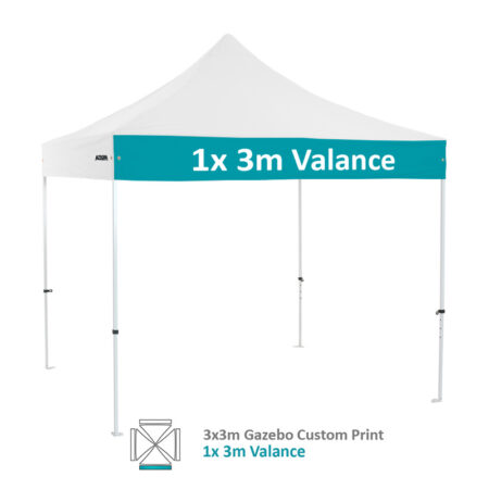 Altegra Premium Steel 3x3m gazebo with vivid custom printed canopy - 1x 3m valance printed option.