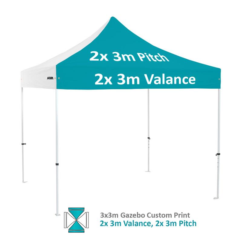 Altegra Premium Steel 3x3m gazebo with vivid custom printed canopy - 2x 3m valance and 2x 3m pitch printed option.