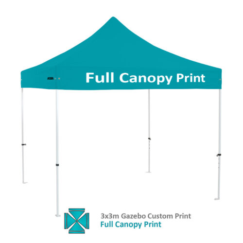 Altegra Premium Steel 3x3m gazebo with vivid custom printed canopy - full custom printed canopy printing option.