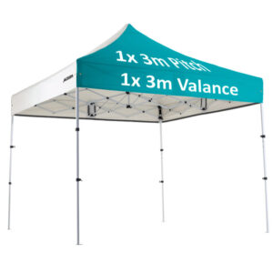 "Altegra Premium Steel ""Compact"" 3x3m Gazebo with custom canopy printing - 1x3m valance, 1x3m pitch print"