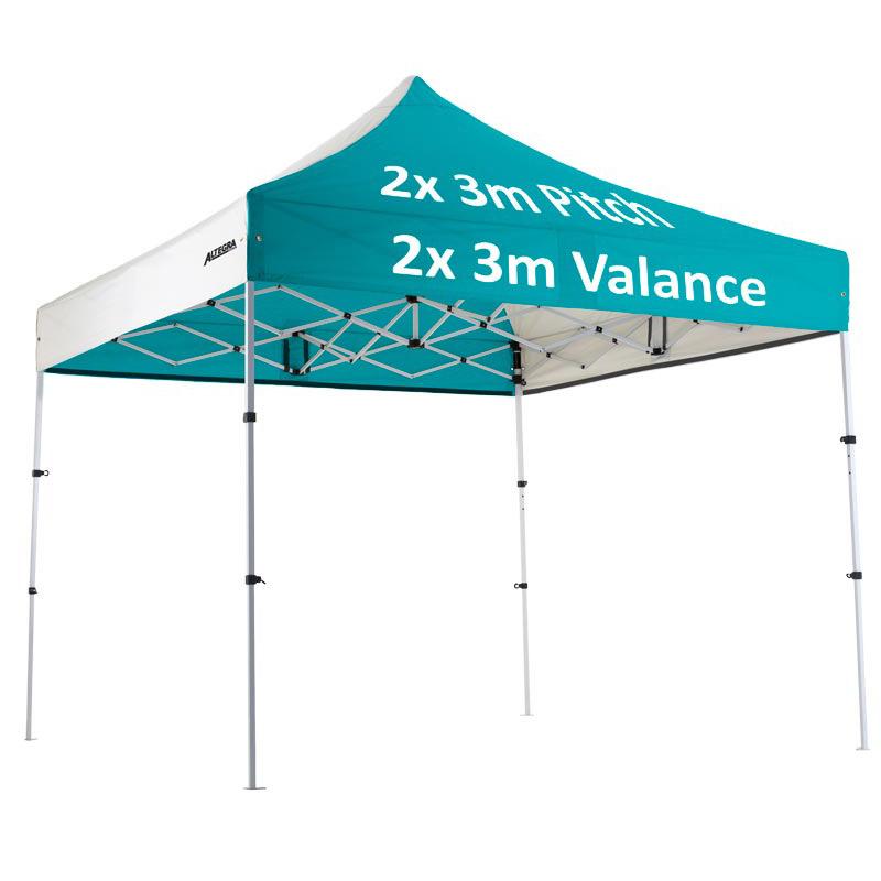"Altegra Premium Steel ""Compact"" 3x3m Gazebo with custom canopy printing - 2x3m valance, 2x3m pitch print"