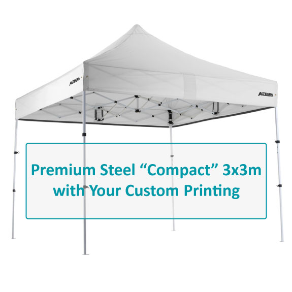 Altegra Premium Steel Compact 3x3m gazebo custom printing options image - select the canopy panels to customise with your branding on our UPF50+ Excellent canopy.