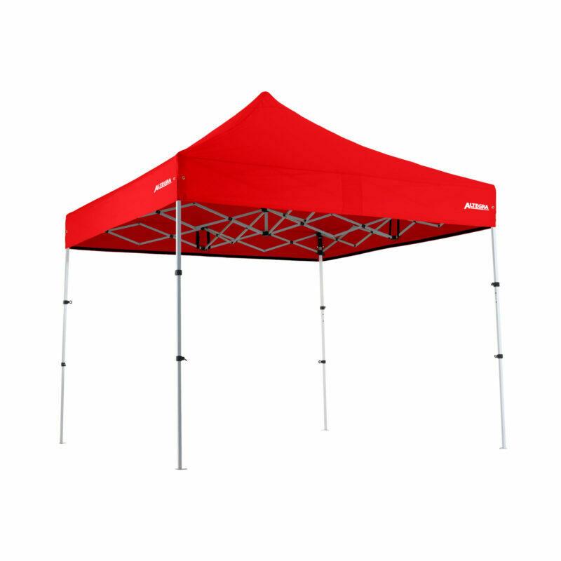 Altegra Premium Steel Compact 3x3m gazebo with Red UPF50+ canopy.